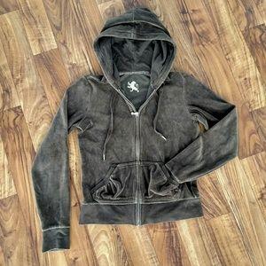 Express brown zip up hoodie